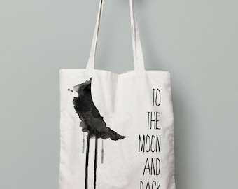 To the moon and back, couples gift, bag for women, tote bag canvas, shoulder bag, watercolor painting, book bags for women, black and white