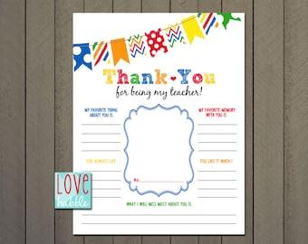 Teacher Appreciation, End of the Year, Class, Classroom, School Gift - PRINTABLE DIGITAL FILE - 8.5x11