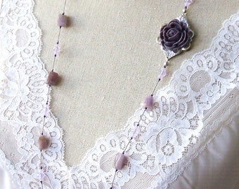 Amethyst and crystal on long silk necklace - Resin rose and amethyst necklace