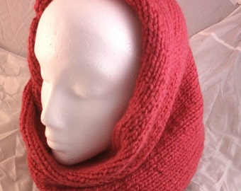 Knit 2-in-1 Cowl Scarf and Hood - Rouge Red