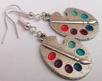 Palette Earrings , Silver Earrings , Artist Earrings , Artist Gift , Bright Artist Palette Earrings , Blue Earrings , Purple Earrings