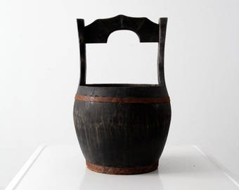antique Chinese rice bucket, wooden Asian peasant basket