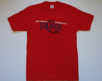 Virginia Slims Give a Man an Inch, He Thinks He's a Ruler T-Shirt Vintage 1990s L