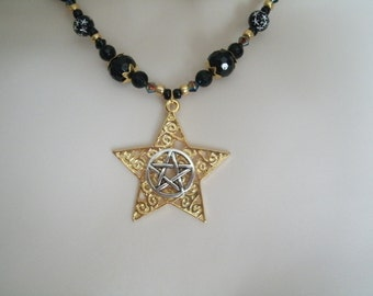 Star Pentacle Necklace, wiccan jewelry pagan jewelry wicca jewelry witch witchcraft goddess pentagram magic metaphysical wiccan necklace