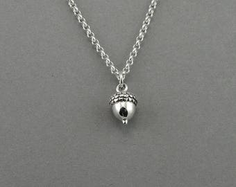 Acorn Necklace - 925 Sterling Silver acorn jewelry for women, teachers gift, tiny, nature