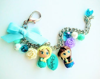 Personalized Elsa and Anna inspired  charm bracelet