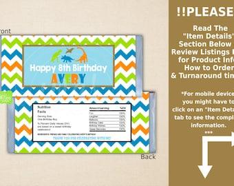 Dinosaur Chocolate Bar Wrappers - Dinosaur Candy Bar Wrapper - Chevron Candy Bar Wrapper - Digital & Printed Available