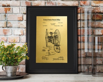 "Vintage 1887 Bicycle Gold Foil Patent Prints up to 16""x20"" Cilley Velocipede Cycle Wall Art Bike Poster Gift for Bicycler GoldenGraphy"