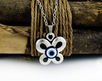 Evil eye necklace, Butterfly Pendant, Greek Mati, Nazar, Hamsa Evil Eye Protection Jewelry
