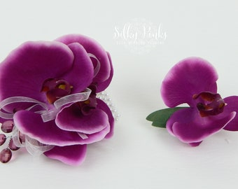Orchid Wrist Corsage & Boutonniere, Wedding Corsage, Deep Pink Orchid Corsage, Prom Corsage, Wedding Flower,