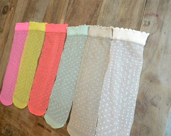 6 pairs Polka Dot sheer Ankle Socks 6 Multi solid colors Gift for Her