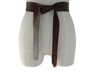 Soft Leather Tie Belt Raw Edge Goatskin or Seamless Cowhide Brown Strap Belt Sash xs, s, m, l, xl Coat Belt Basic Collection custom brown