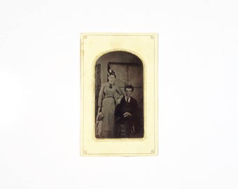 Vintage Tintype Photo of Couple / Husband and Wife Victorian Tintype / Man Woman Tintype Photograph