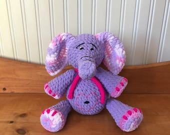 Ready to ship, Melanie lilac elephant, plush elephant, plush lilac, lilac elephant plushie, kids gift, gift baby birthday