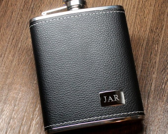 Groomsmen Flask: Genuine Black Leather Flask with Stainless Steel Engraving Plate - Personalized Groomsman Gift, Father's Day, Dad, Birthday