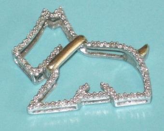 Sterling Silver 14K Gold Diamond Scottish Terrier Dog Slide Charm Pendant Scotty Scottie