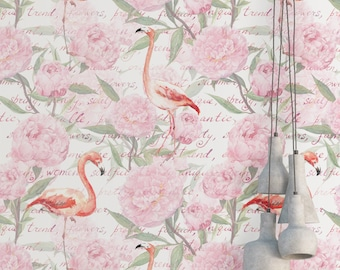 Flamingo Vintage Flowers Wallpaper