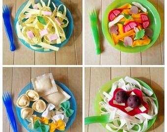 Felt play food - pasta - soft handmade toy food - carbonara meatballs spaghetti ravioli tortellini