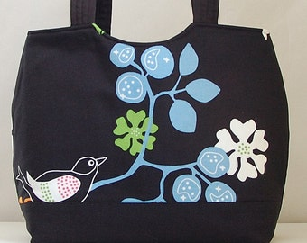 Bird and Flower Black Shaped Tote