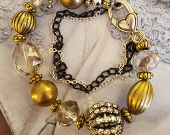 Brushed Gold, Rhinestones and Crystal Bead Assemblage Bracelet, Statement Bracelet, Assemblage Bracelet, Repurposed and Upcycled Jewelry