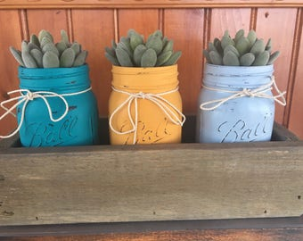 Mason Jar Centerpiece with Succulents/Rustic Mason Jar Holder/Farmhouse Mason Jar Sets/Mason Jar Box/Gifts for Her/Mason Jar Planter