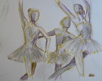 Esquisse artistique danseuses Danse classique Dessin Encre Crayon Originale Format 50 x 65 cm 19 x 25 inch tutu Piece Unique Art