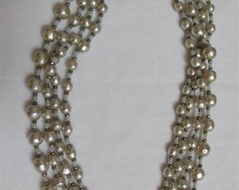 On Sale! 1950's Miriam Haskell Ivory Baroque Pearl Four Strand Choker / Necklace / Wedding Jewelry