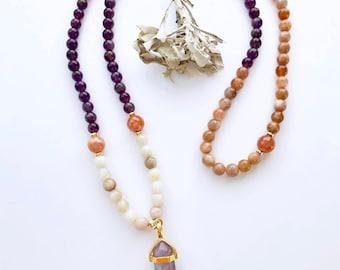 Mala Beads, Moonstone Mala, Amethyst Mala Beads, Mala Necklace, Prayer Beads, 108 Mala Beads, Mala, Amethyst Necklace, Gift For Mom, MNMA