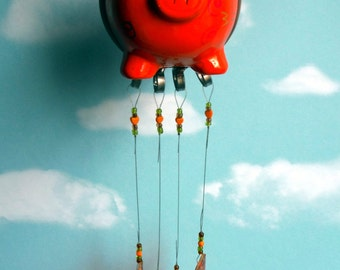 Flying Pig, When Pigs Fly, up cycled bank with Stained Glass Chimes