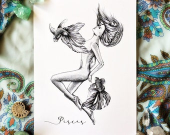 Pisces goddess illustration art print - horoscopes astrology line drawings by Tegan Swyny of Colour Cult