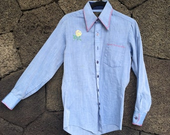 Hand Embroidered Chambray Western Shirt