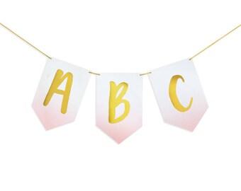 Gold Foil Stamped Brush Lettering Pink Ombre Alphabet Custom Letter Banner