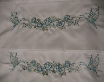 Pillowcase set Turquoise Roses and Butterflies Microfiber OOAK