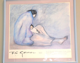 R.C. GORMAN Print from Original Painting by NATIVE AMERICAN Artist, Mother & Child, Pastels of Blues/Lilac, Beautiful Coord.Frame/Matte