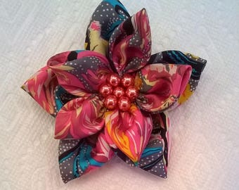 Colorful Silk Print Flower with Glass Pearl Center - Large 4 1/4 Inch Diameter Flower - Brooch, Hair Clip, or Both (Convertible)