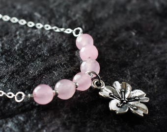 Cherry blossom and baby pink Malaysian Jade necklace | Sakura sterling silver necklace | Japanese flower necklace | Delicate pink necklace