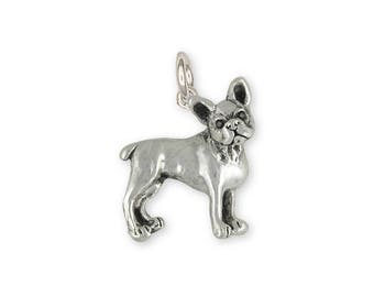 Boston Terrier Charm Jewelry Sterling Silver Handmade Dog Charm BT18-C