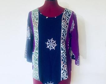 Vintage Purple Batik Tunic Top Quarter Sleeves Boho Size XS S M by Spirit Oregon