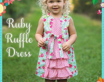 The Cottage Mama Girls Paper Sewing Pattern Ruby Ruffle Dress 6 months-10 years