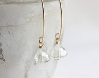 Green amethyst earrings, prasiolite earrings, long gold drop earrings, geometric earrings, Mother's Day gift, trillion cut gemstones