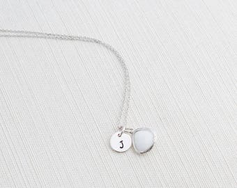 Silver Initial & Opal Gem Necklace, Opal Necklace, Initial Necklace,  Personalised Jewellery, Initial Necklace , Bridesmaid Gift