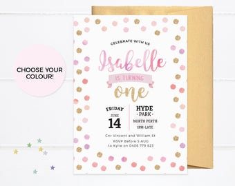 1st birthday party invitations PRINTABLE, First birthday invitations girl, first birthday invites, Simple invitations kids party invitations
