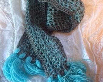 Icy Crochet Long Scarf Blue Gray