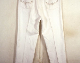 vtg 70s Maverick RARE White Denim Men's Jeans USA made straight leg 34 X 31