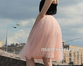 """Tulle skirt with matching lining, fixed waistband with hidden zipper (color 52 """"Beze"""")"""