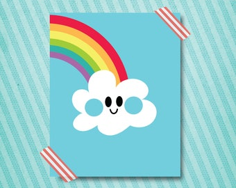 cloud + rainbow wall art printable 16x20