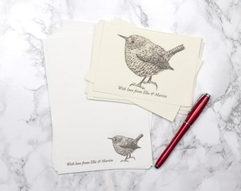 Personalised, Made to order, Illustrated Wren Bird Handwriting Stationery Set, Sepia on Cream