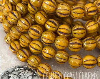 6mm Czech Pressed Glass Picasso Fluted Melon Bead Spacer (25) Butternut Orange Yellow Brown Picasso - Bohemian Gypsy - Central Coast Charms