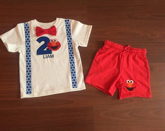 Elmo inspired second birthday baby boy outfit, baby boy 2nd birthday party