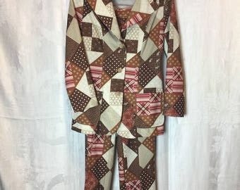 306. SOLD - VINTAGE- Patchwork Matching Blazer & Pant Set
